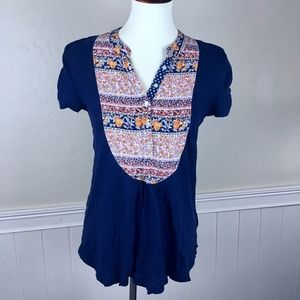 ANTHROPOLOGIE Blue Boho Peasant Top Size Small